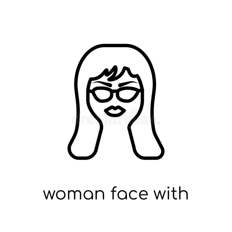 Kvinnaframsida med solglasögonsymbolen Moderiktig modern plan linjär vecto vektor illustrationer