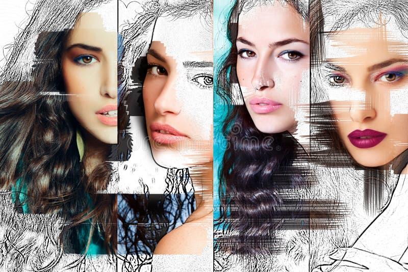 Kvinnaframsida, skönhetcollage fotografering för bildbyråer