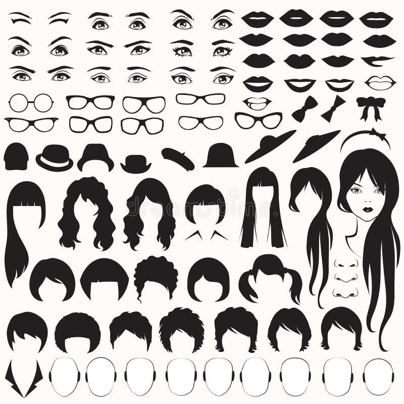 Kvinnaframsidadelar, vektor illustrationer
