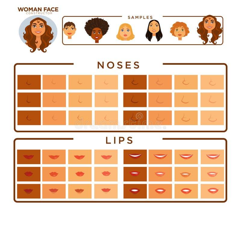 Kvinnaframsidakonstruktör med prövkopior av näsor och kanter royaltyfri illustrationer