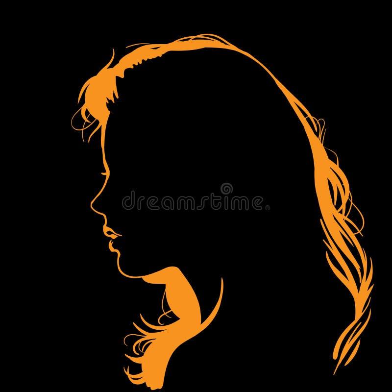 Kvinnaframsidakontur i panelljus royaltyfri illustrationer