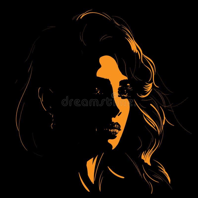Kvinnaframsidakontur i panelljus illustration stock illustrationer