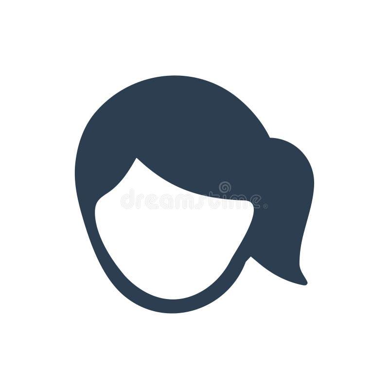 Kvinnaframsidasymbol stock illustrationer