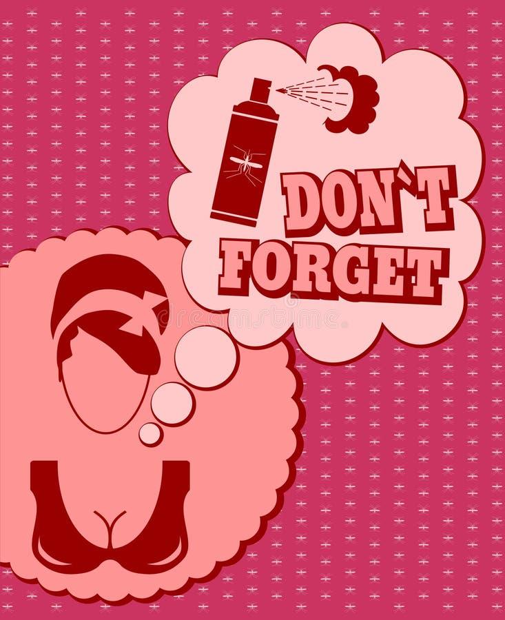 Kvinnaframsidasymbol med det tänkande molnet Glöm inte meddelandet stock illustrationer