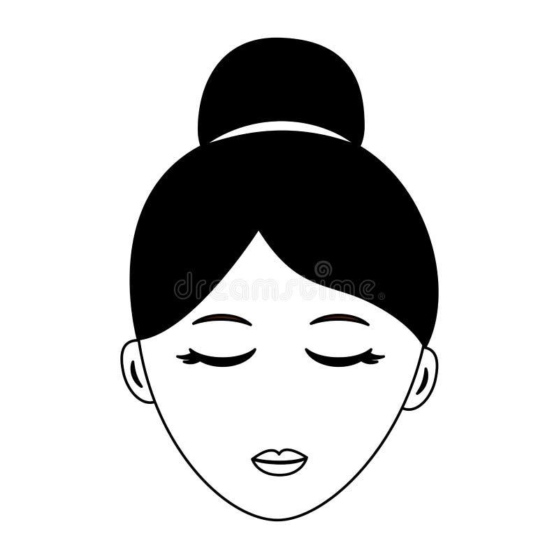Kvinnaframsidatecken stock illustrationer
