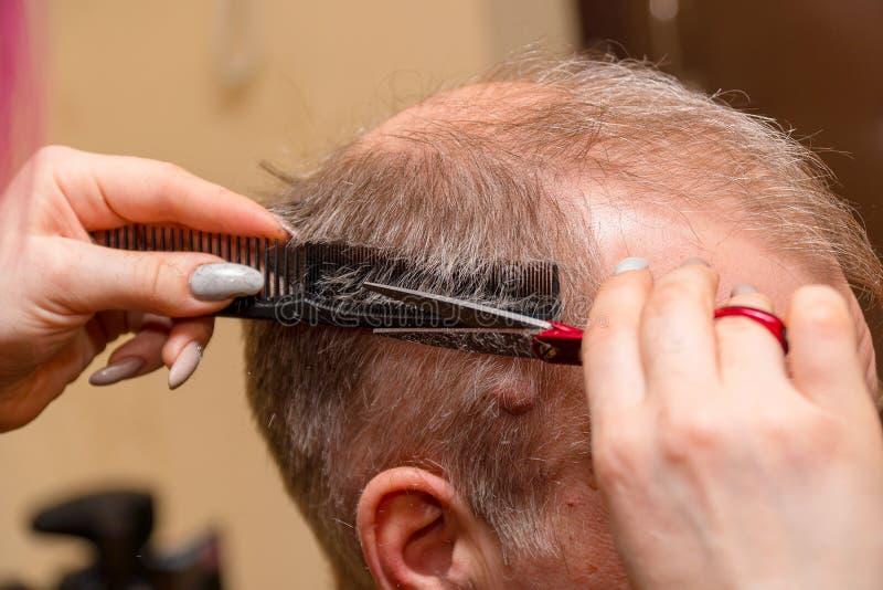 Kvinnafrisören klipper en man med en högt hårfäste med sax arkivfoton