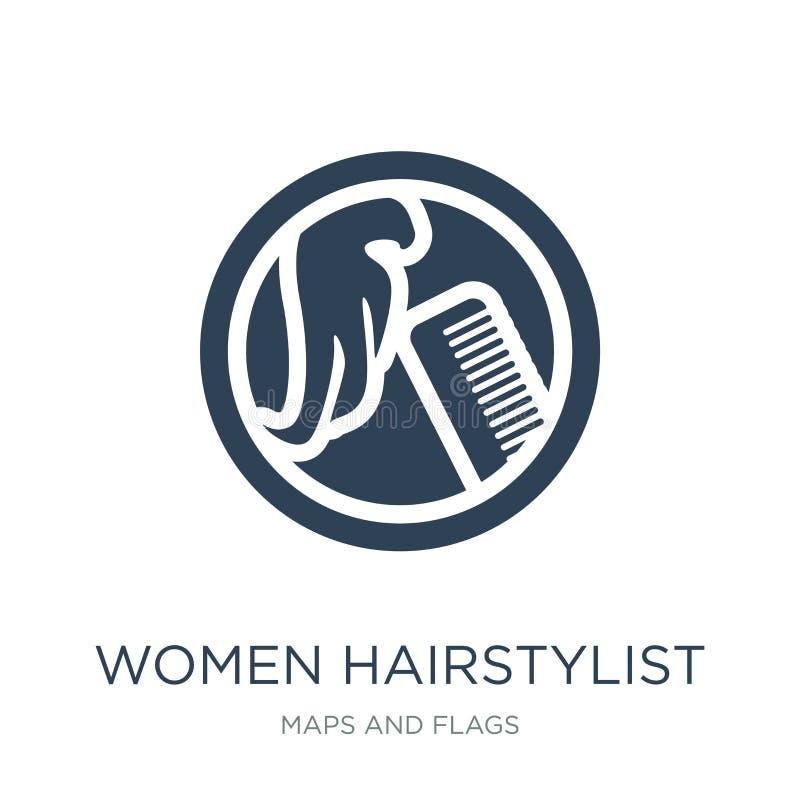 kvinnafrisörsymbol i moderiktig designstil kvinnafrisörsymbol som isoleras på vit bakgrund symbol för kvinnafrisörvektor stock illustrationer