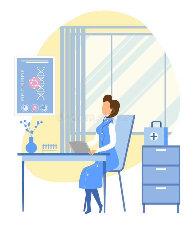 Kvinnagenetikern undersöker tålmodigt DNA i Staffroom royaltyfri illustrationer