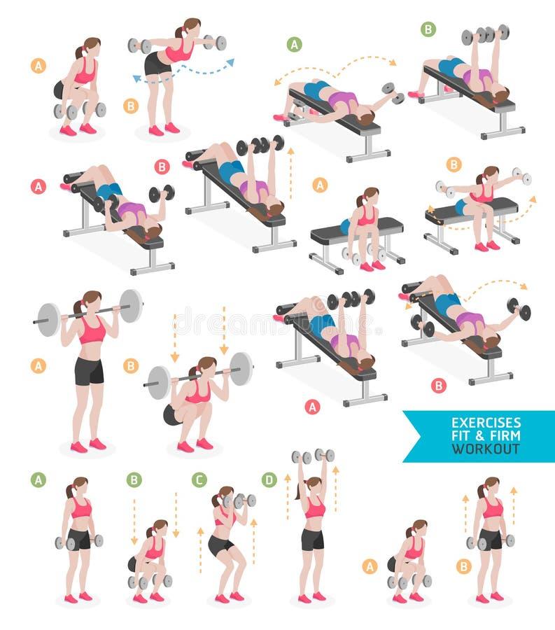 Kvinnagenomkörarekondition, aerobiskt och övningar Vektor Illustratio vektor illustrationer