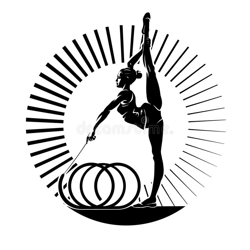 Kvinnagymnast vektor illustrationer