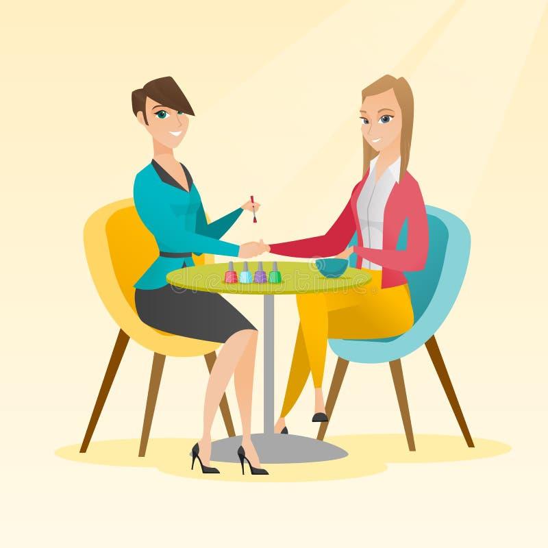 Kvinnahälerimanikyr spikar in salongen vektor illustrationer