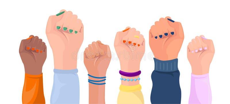 Kvinnahänder med olik hudfärg Flickamaktaffisch Upps?ttning Händer med olika tillbehör Feminism loppjämställdhet, tolerans royaltyfri illustrationer