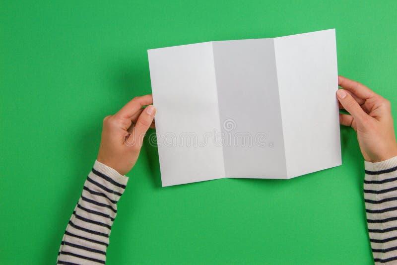 Kvinnahänder som rymmer det tomma vita reklambladbroschyrhäftet Modellarkmall som annonserar häftet på grön bakgrund royaltyfri foto