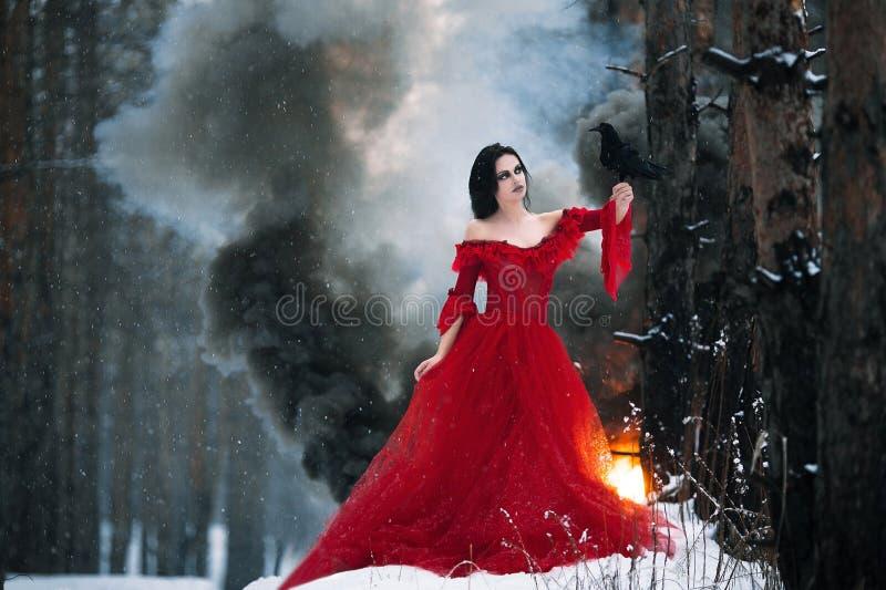 Kvinnahäxa i röd klänning och med korpsvart i hennes händer i snöig fo arkivbild