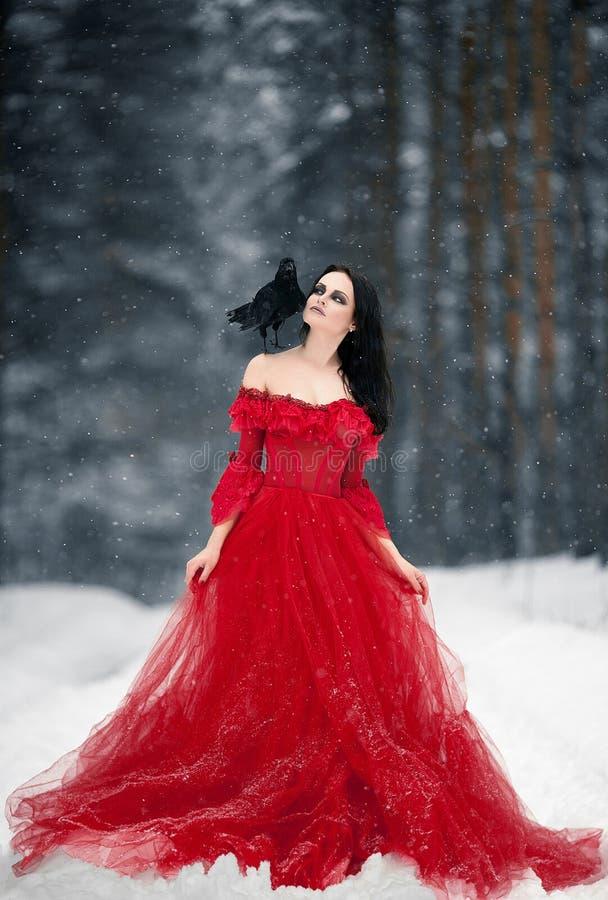 Kvinnahäxa i röd klänning och med korpsvart på hennes skuldra i snöig royaltyfri bild
