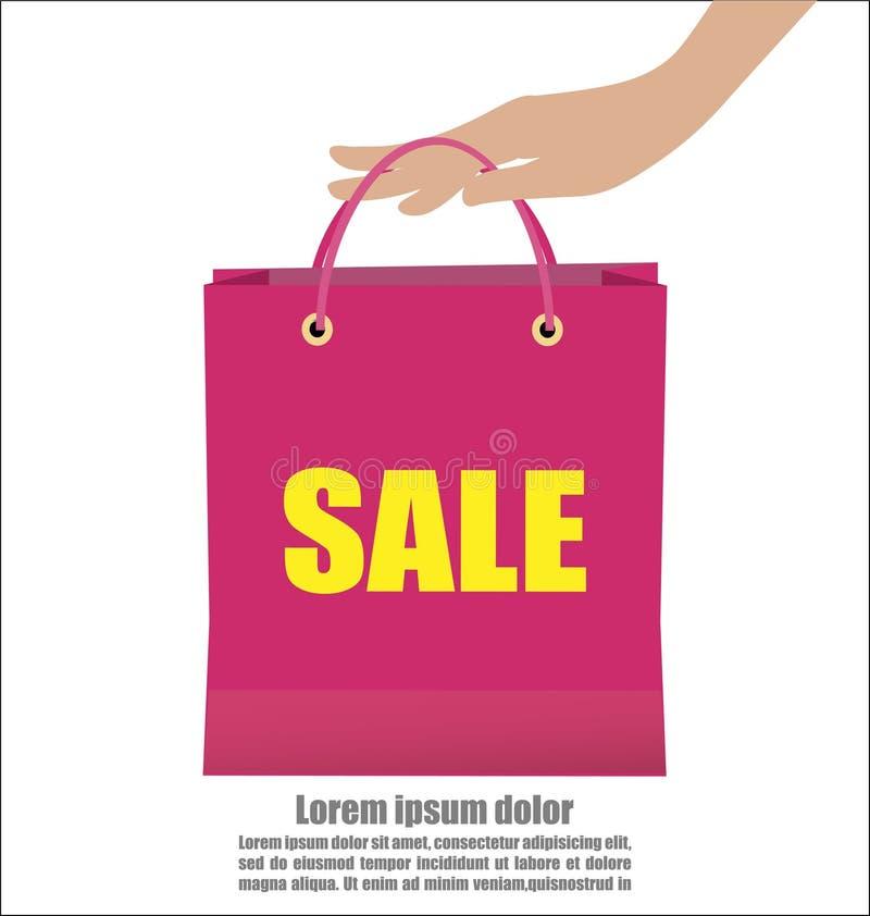 Kvinnahand som rymmer den färgrika Sale för show för shoppingpåse aktionen stock illustrationer