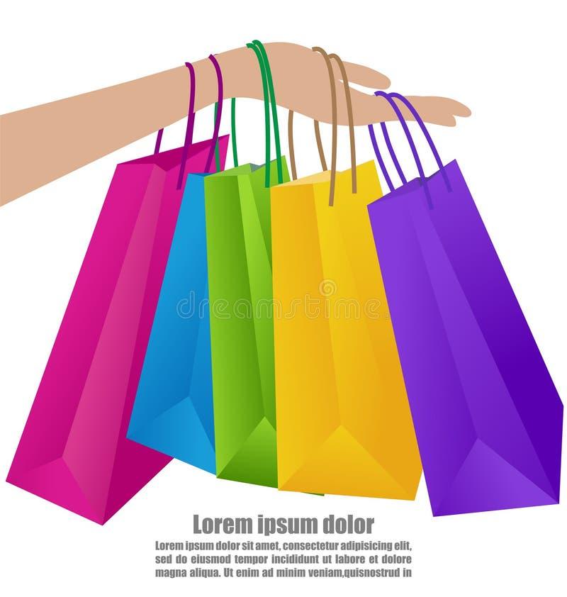 Kvinnahand som rymmer den färgrika shoppingpåsen stock illustrationer