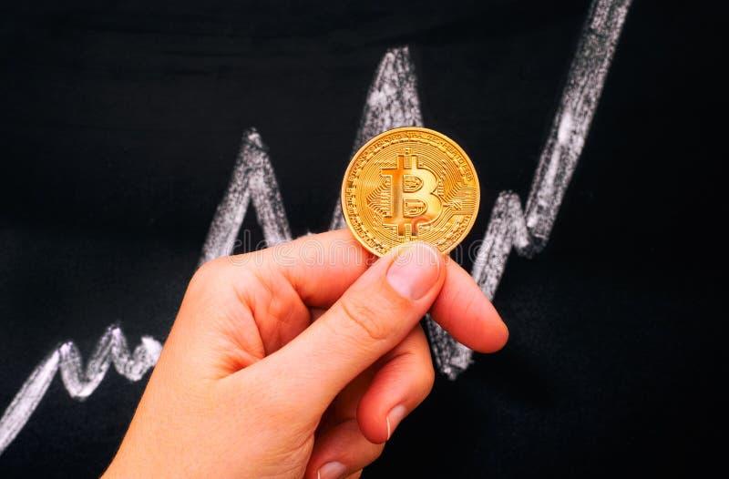 Kvinnahand som rymmer det guld- Bitcoin faktiska myntet mot blackboar royaltyfri foto
