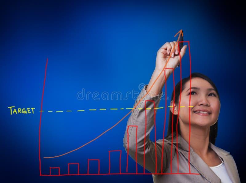 Kvinnahand som tecknar en tillväxtgraf fotografering för bildbyråer