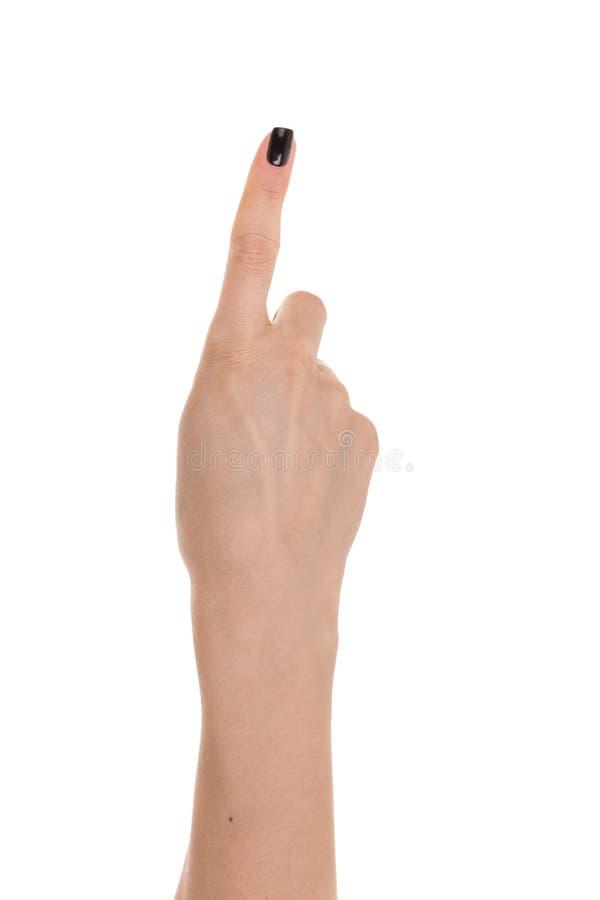 Kvinnahand som visar fingrarna som ett isoleras på en vit backgroun arkivbild