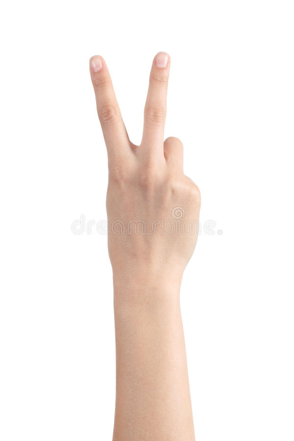 Kvinnahand som visar två fingrar arkivfoton