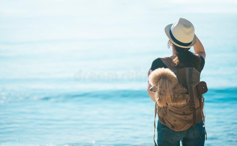 Kvinnahandelsresande med hunden i ryggsäcken och se havet royaltyfria foton