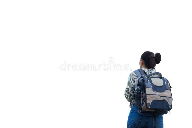 Kvinnahandelsresande med ryggsäcken på isolerad vit bakgrund fotografering för bildbyråer