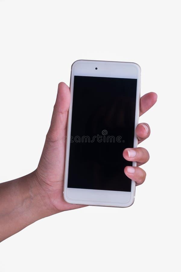 Kvinnahanden och ilar telefonen royaltyfria foton