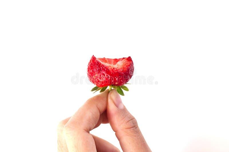 Kvinnahanden rymmer jordgubben fotografering för bildbyråer