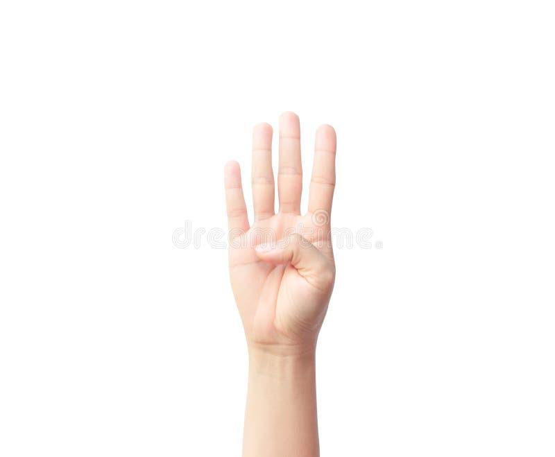 Kvinnahandshow med finger fyra som isoleras på vit bakgrund arkivbilder