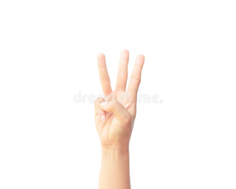 Kvinnahandshow med finger tre som isoleras på vit bakgrund royaltyfri bild