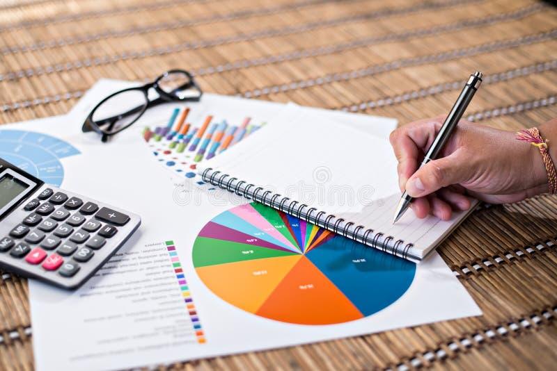 Kvinnahandstilidé för analysaffär och finansiellt royaltyfria bilder