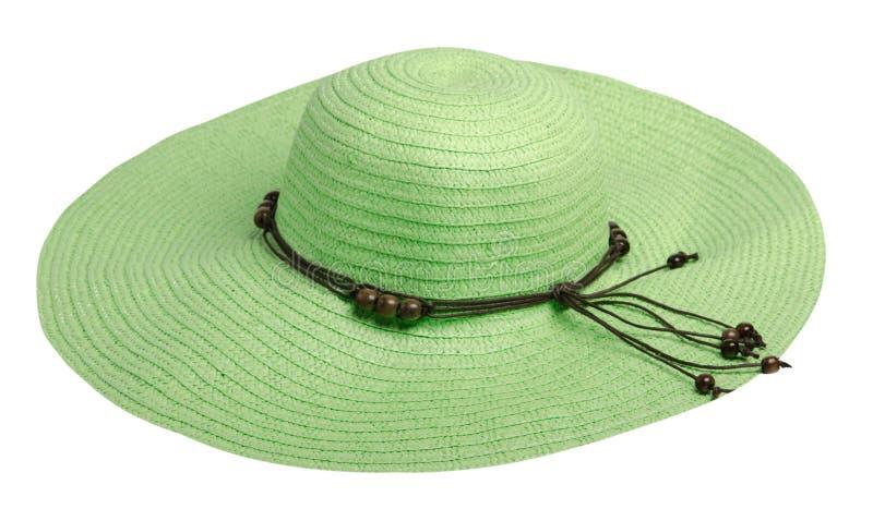 Kvinnahatt som isoleras på vit bakgrund Hatt för strand för kvinna` s Gr royaltyfri bild