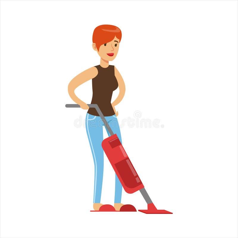 Kvinnahemmafru Cleaning The Floor med dammsugare, klassisk hushållarbetsuppgift av denhem fruillustrationen stock illustrationer