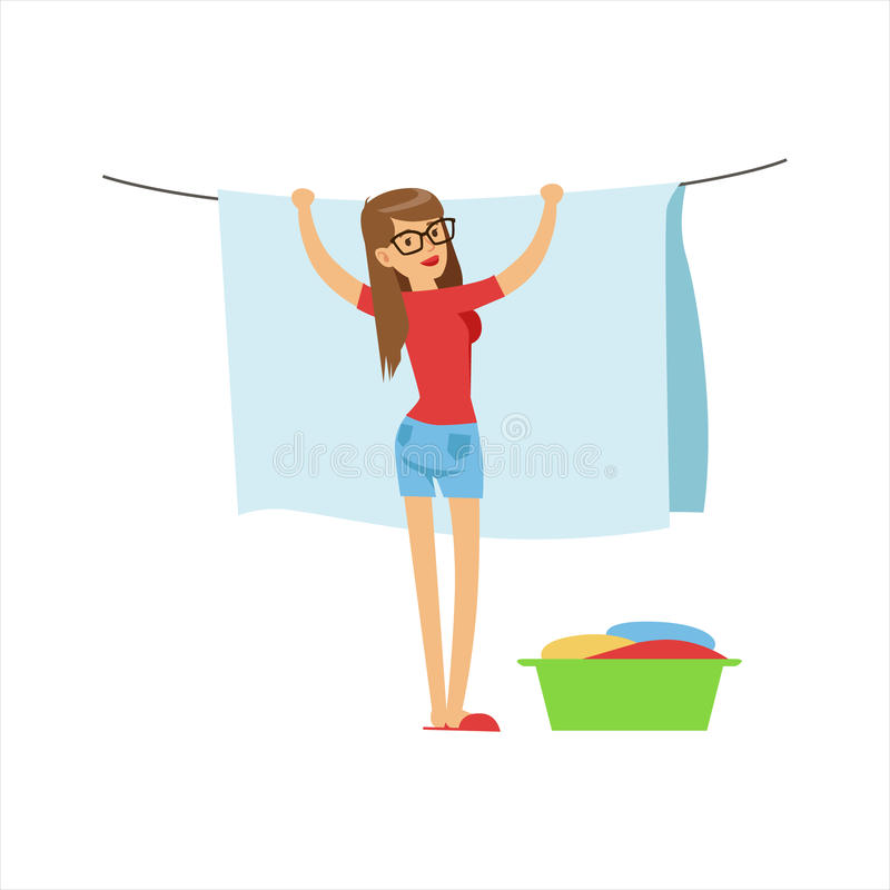 Kvinnahemmafru Hanging Wet Laundry på raden utomhus, klassisk hushållarbetsuppgift av denhem fruillustrationen royaltyfri illustrationer