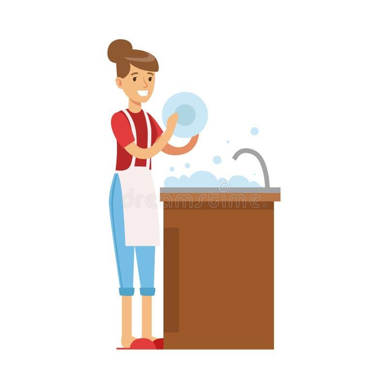 Kvinnahemmafru Washing The Dishes i kökklappet, klassisk hushållarbetsuppgift av denhem fruillustrationen stock illustrationer