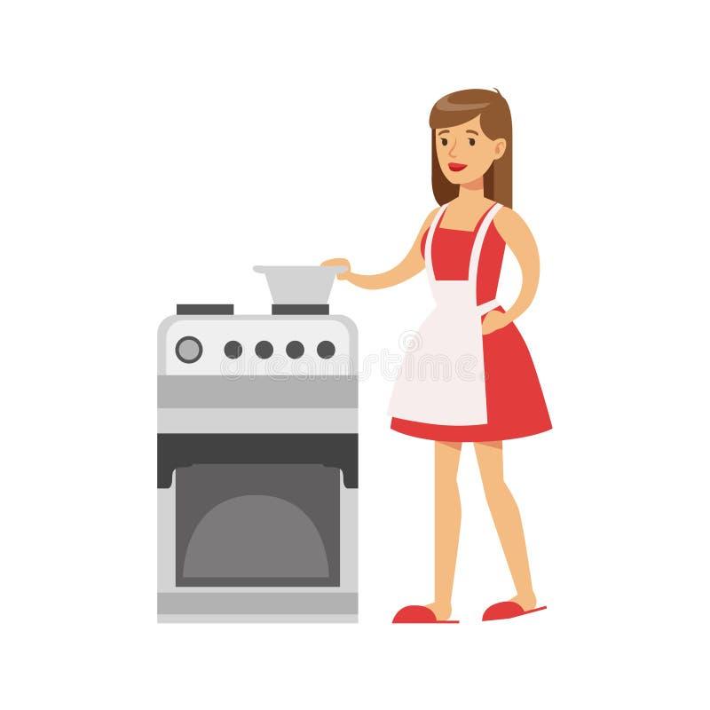 KvinnahemmafruCooking At The kök, klassisk hushållarbetsuppgift av denhem fruillustrationen vektor illustrationer