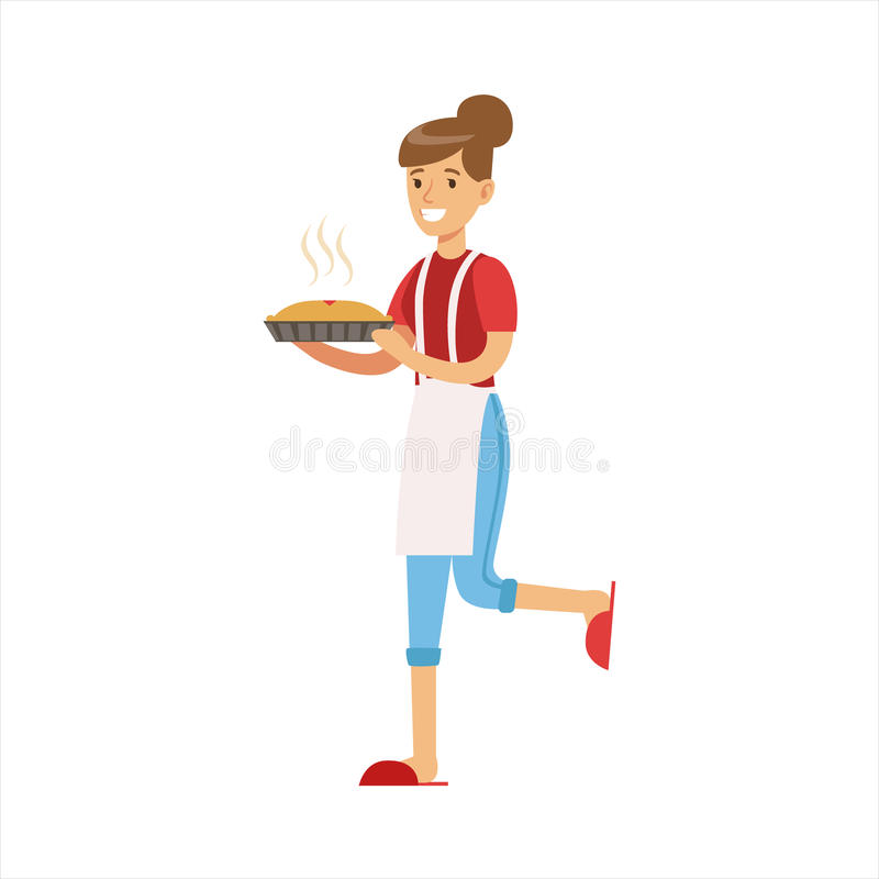 KvinnahemmafruHolding Freshly Baked varm paj, klassisk hushållarbetsuppgift av denhem fruillustrationen stock illustrationer