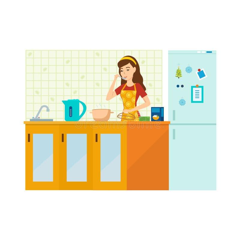 Kvinnahemmafrun är förlovad, i att förbereda ett mål i kök stock illustrationer
