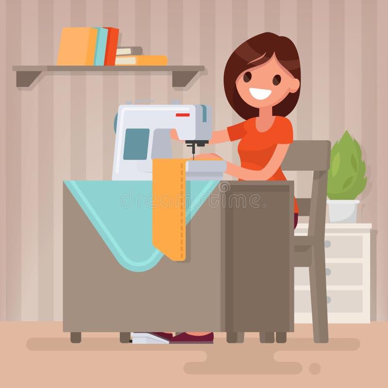 Kvinnahemmafrun syr på symaskinen också vektor för coreldrawillustration royaltyfri illustrationer