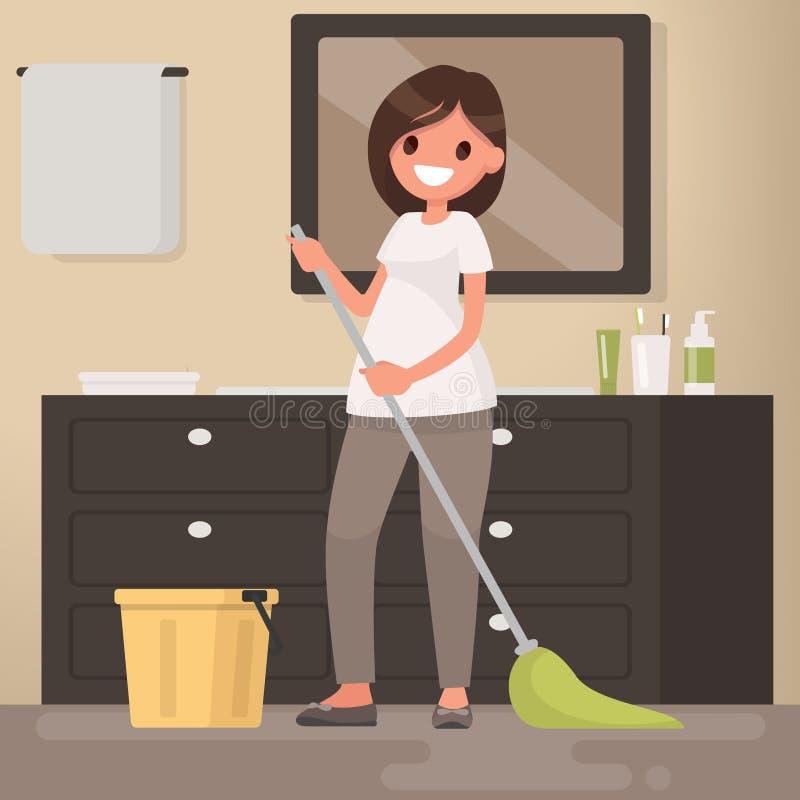Kvinnahemmafrun tvättar en golvgolvmopp Vektorillustration i en fla royaltyfri illustrationer