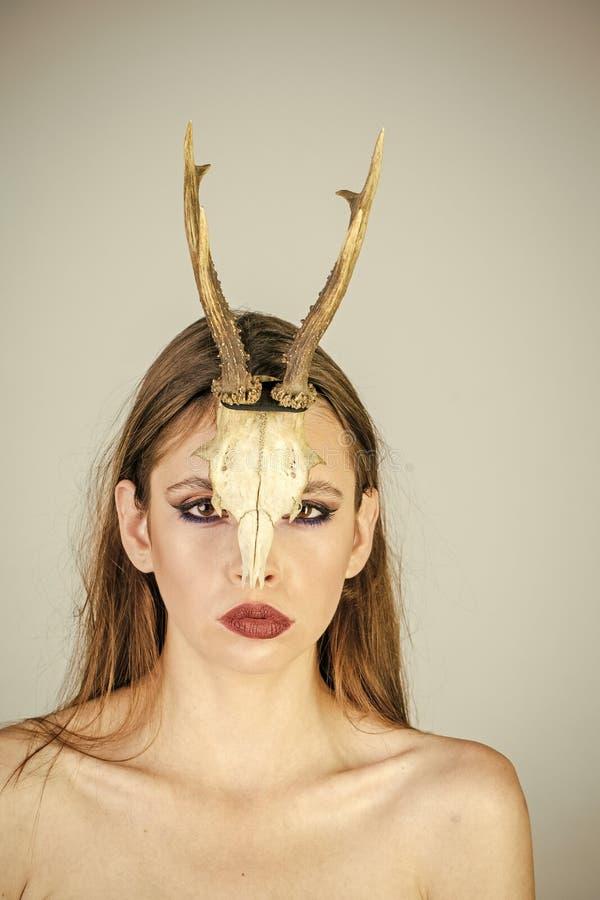 Kvinnahorn halloween Mytisk kvinna med horn på kronhjort Mystisk kvinnakvinnlig shaman Kvinna från en saga med horn fotografering för bildbyråer