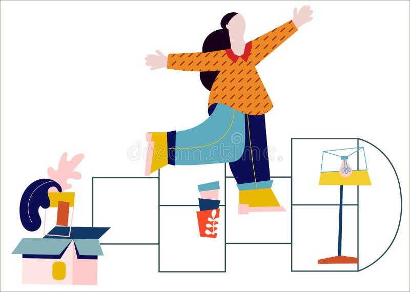 Kvinnahyror en lägenhet, tur som inhyser hyra Plan designvektorillustration royaltyfri illustrationer