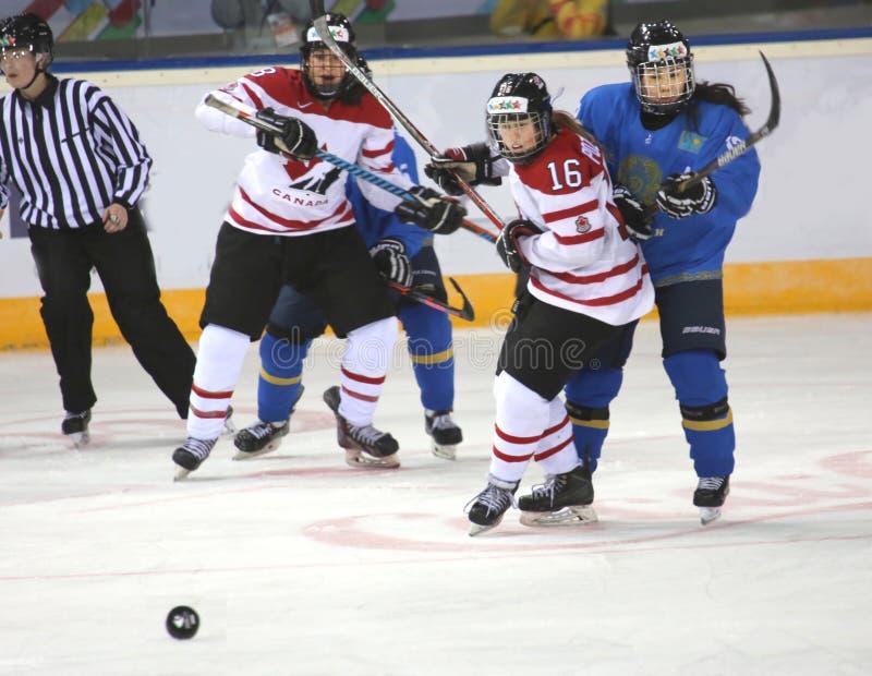 Kvinnaidrottsman nen som spelar hockey royaltyfria foton