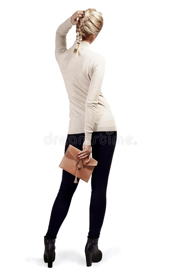 Kvinnainnehavhandväska fotografering för bildbyråer