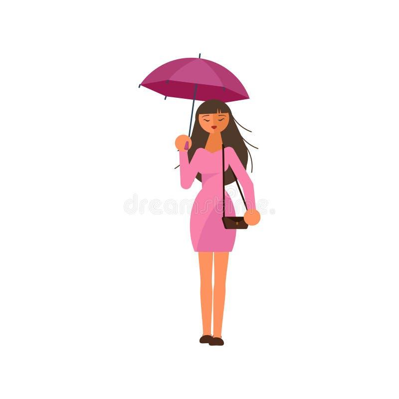 Kvinnainnehavparaply under regnet stock illustrationer