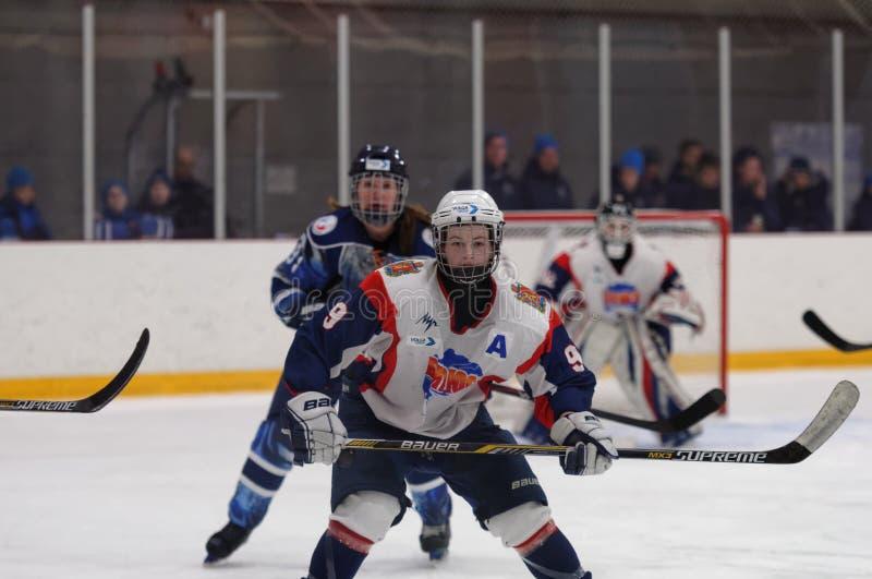 Kvinnaishockeymatch Dinamo St Petersburg vs Biryusa Krasnoyarsk arkivbild