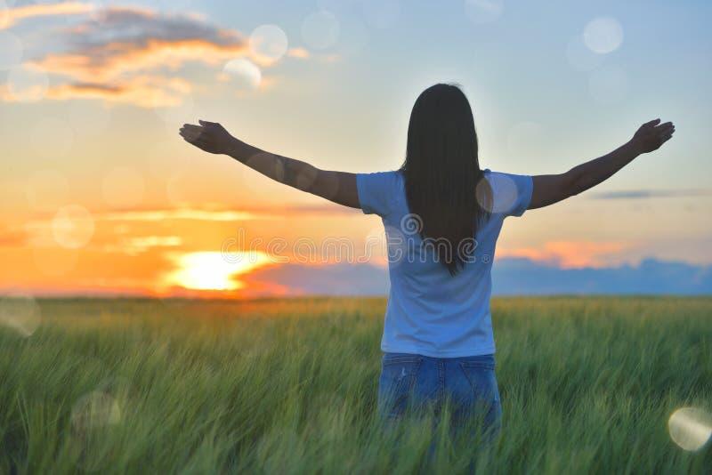 Kvinnakänsla som är fri i en härlig naturlig inställning, i vilket fält på solnedgången fotografering för bildbyråer