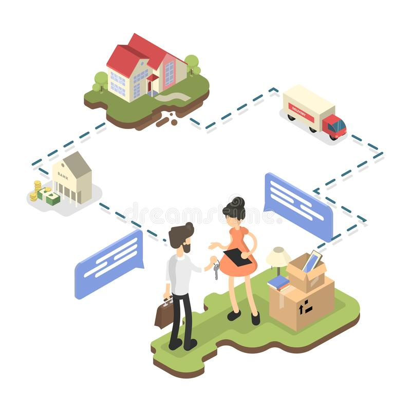 Kvinnaköpandehus vektor illustrationer