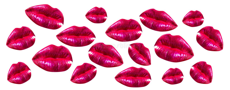 Kvinnakantupps?ttning Flickamunslut upp med röd läppstiftmakeup Mun med skönhetsmedel som isoleras på vit bakgrund fotografering för bildbyråer